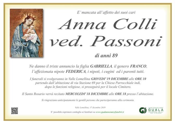 Necrologio di Anna Colli ved. Passoni