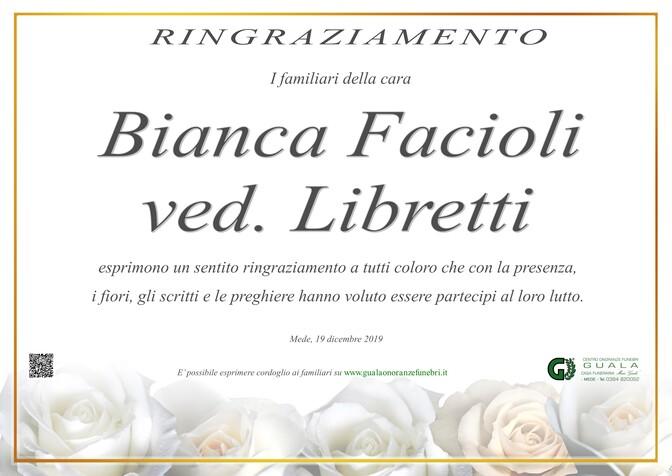 Ringraziamento per Bianca Facioli ved. Libretti