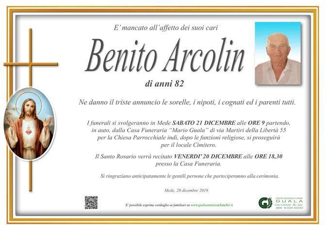 Necrologio di Benito Arcolin