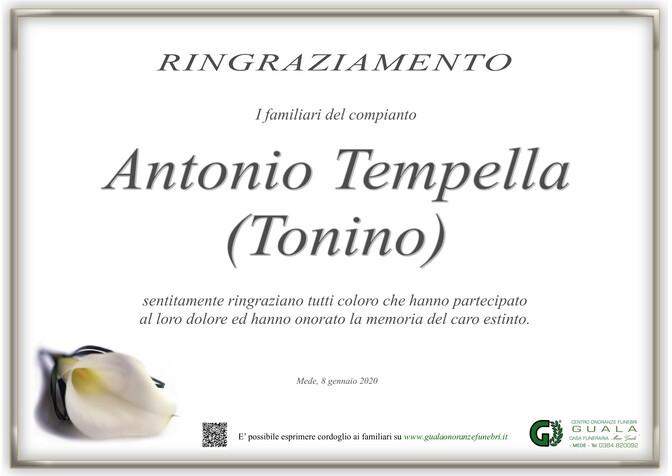 Ringraziamenti per Antonio Tempella