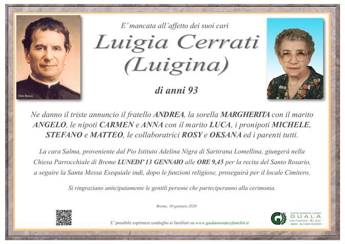 Necrologio di Luigia Cerrati (Luigina)
