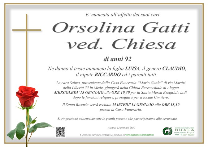Necrologio di Orsolina Gatti ved. Chiesa