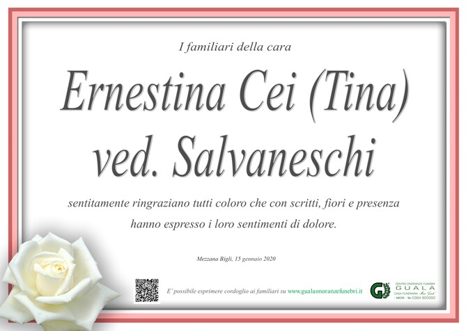 Ringraziamenti per Ernestina Cei (Tina) ved. Salvaneschi