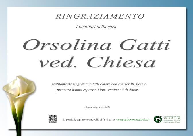 Ringraziamenti per Orsolina Gatti ved. Chiesa