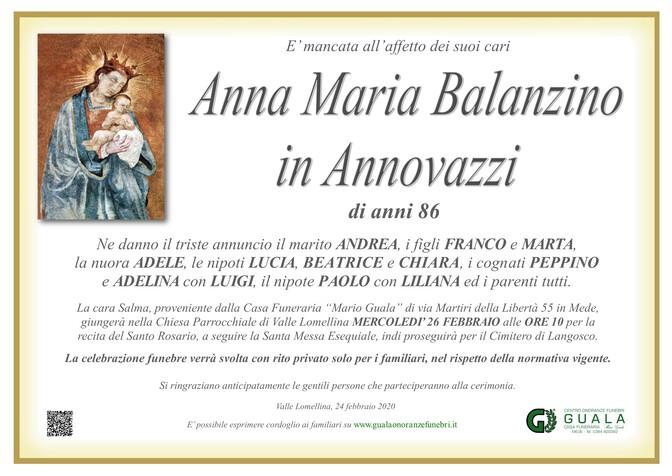 Necrologio di Anna Maria Balanzino in Annovazzi