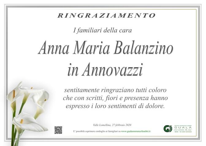 Ringraziamenti per Anna Maria Balanzino in Annovazzi