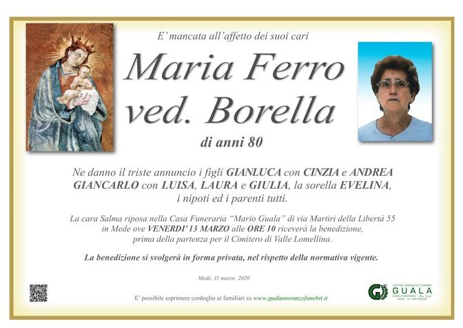 Necrologio di Maria Ferro ved. Borella