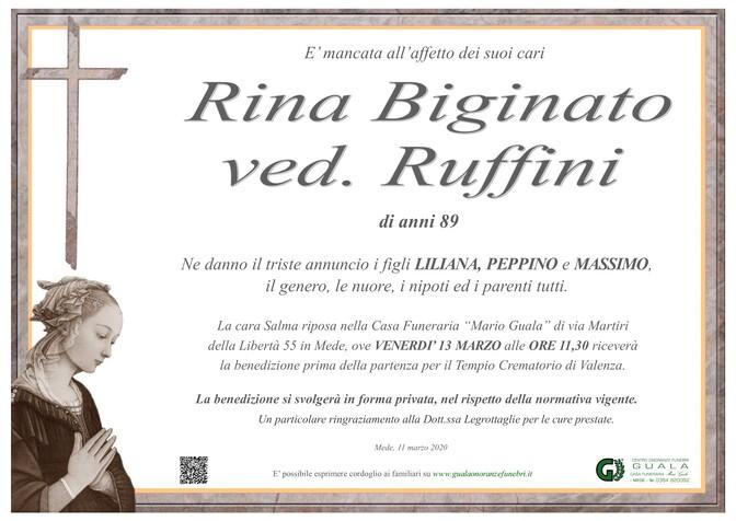 Necrologio di Rina Bigiato ved. Ruffini