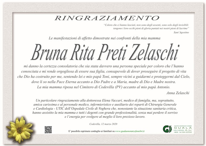 Ringraziamento per Bruna Rita Preti Zelaschi