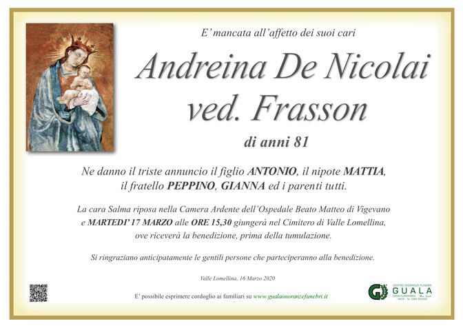 Necrologio di Andreina De Nicolai ved. Frasson