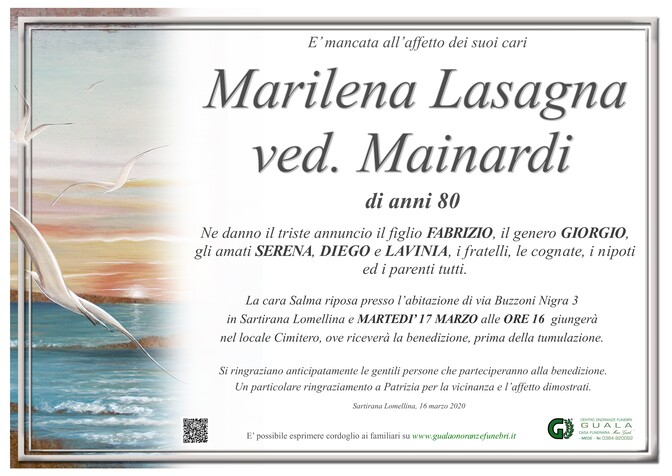 Necrologio di Marilena Lasagna ved. Mainardi