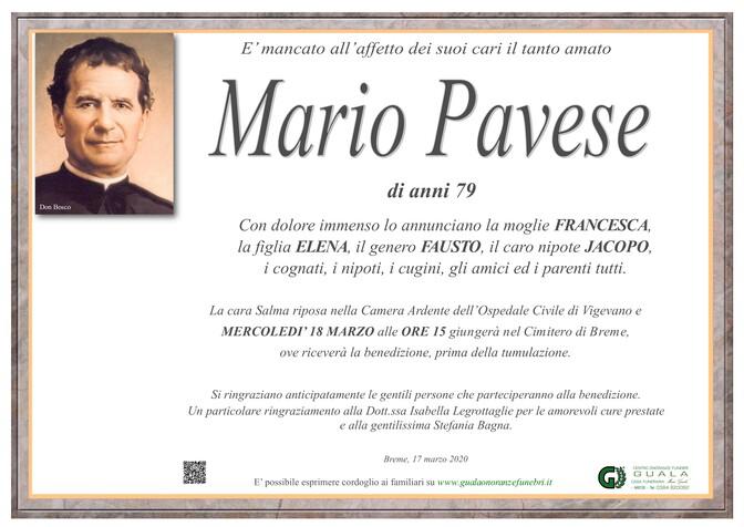 Necrologio di Mario Pavese