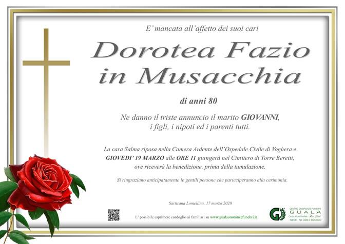 Necrologio di Dorotea Fazio in Musacchia