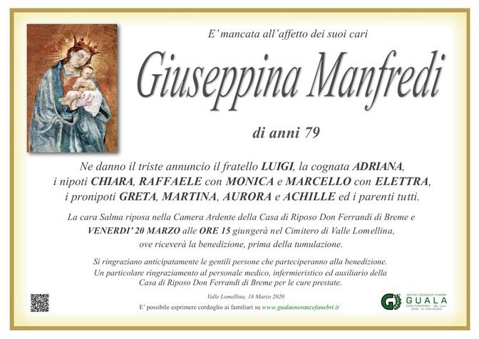 Necrologio di Giuseppina Manfredi