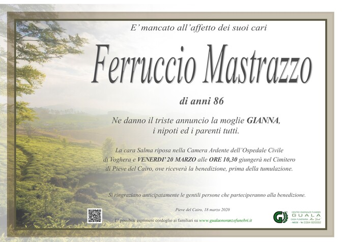 Necrologio di Ferruccio Mastrazzo
