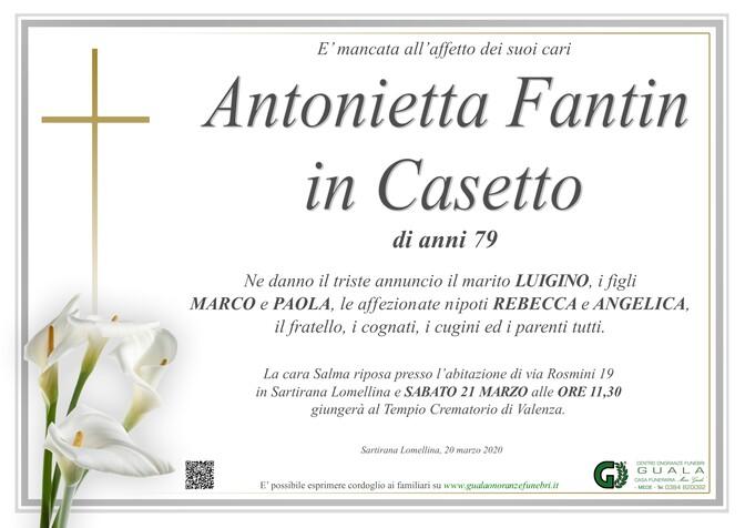 Necrologio di Antonietta Fantin in Casetto