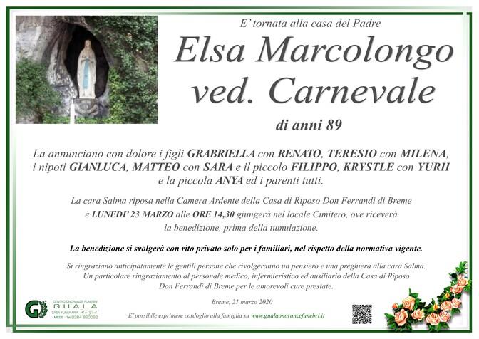 Necrologio di Elsa Marcolongo ved. Carnevale