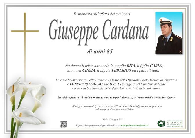 Necrologio di Giuseppe Cardana