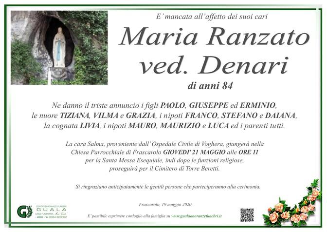 Necrologio di Maria Ranzato ved. Denari