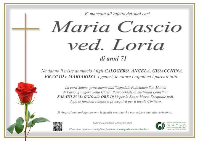 Necrologio di Maria Cascio ved. Loria