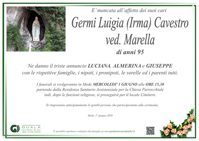 Necrologio di Germi Luigia (Irma) Cavestro ved. Marella