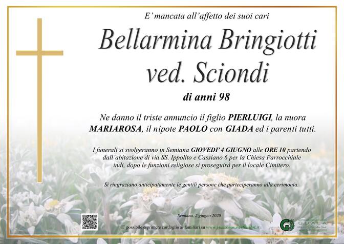 Necrologio di Bellarmina Bringiotti ved. Sciondi