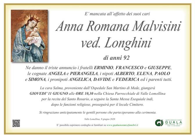 Necrologio di Anna Romana Malvisini ved. Longhini