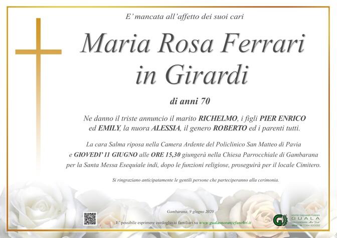Necrologio di Maria Rosa Ferrari in Girardi