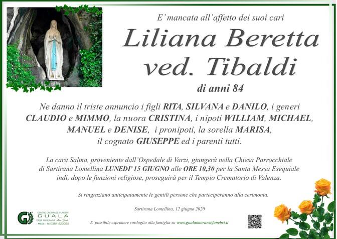Necrologio di Liliana Beretta ved. Tibaldi