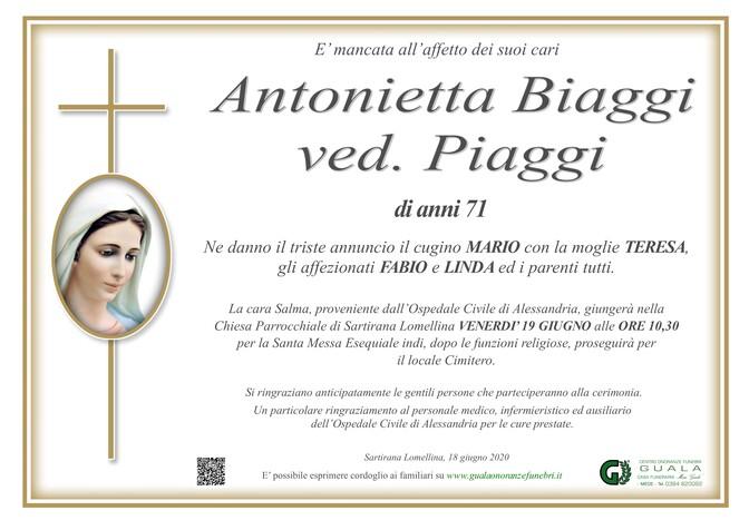 Necrologio di Antonietta Biaggi ved. Piaggi