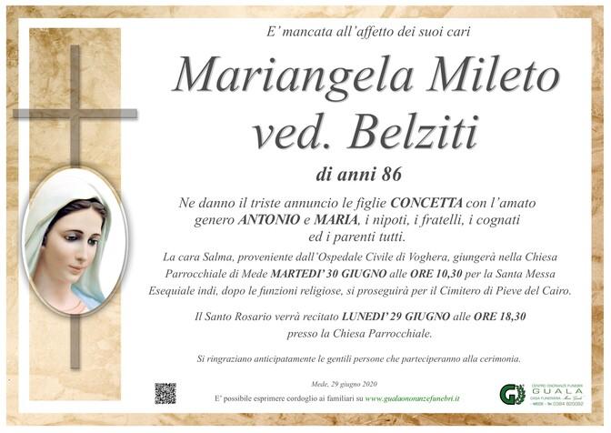 Necrologio di Mariangela Mileto ved. Belziti