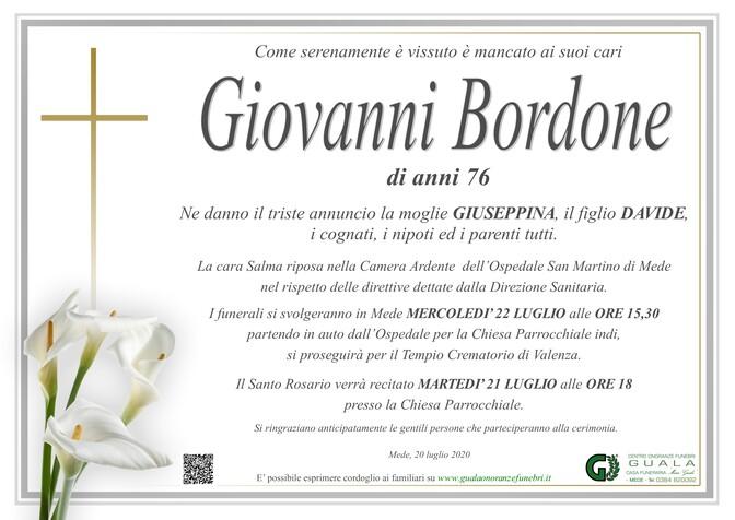 Necrologio di Giovanni Bordone