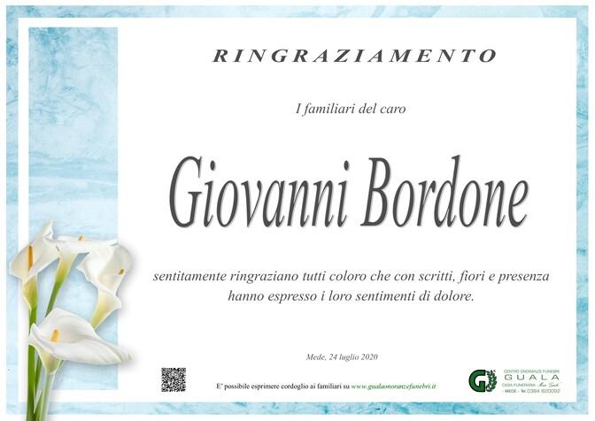 Ringraziamenti per Giovanni Bordone