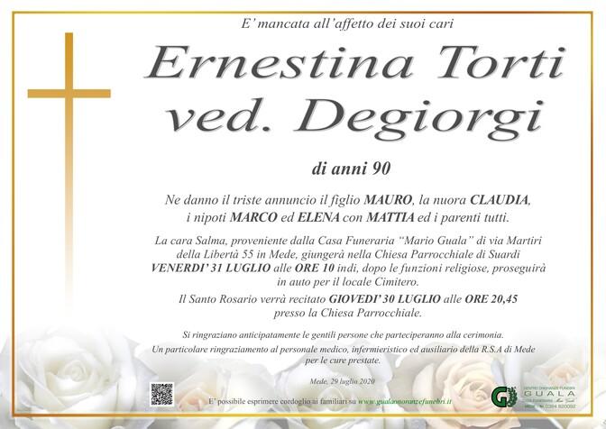 Necrologio di Ernestina Torti ved. Degiorgi