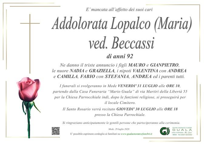 Necrologio di Addolorata Lopalco (Maria) ved. Beccassi