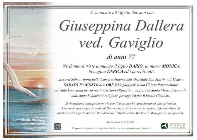 Necrologio di Giuseppina Dallera ved. Gaviglio