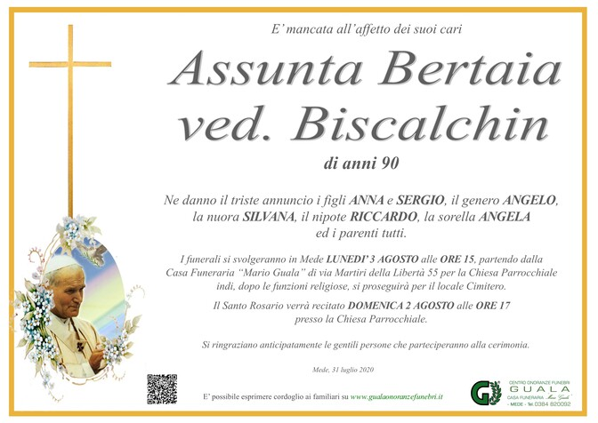 Necrologio di Assunta Bertaia ved. Biscalchin