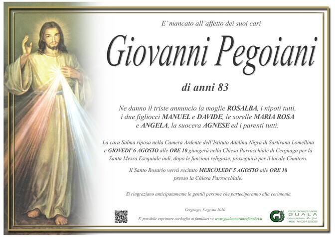 Necrologio di Giovanni Pegoiani