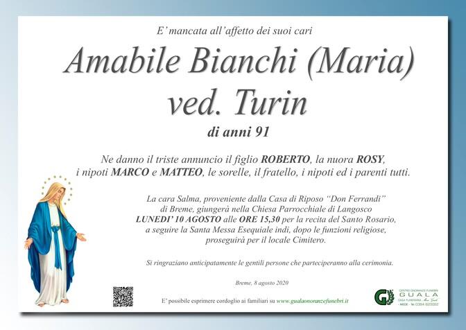 Necrologio di Amabile Bianchi (Maria) ved. Turin