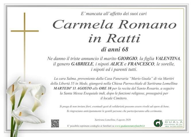 Necrologio di Carmela Romano in Ratti