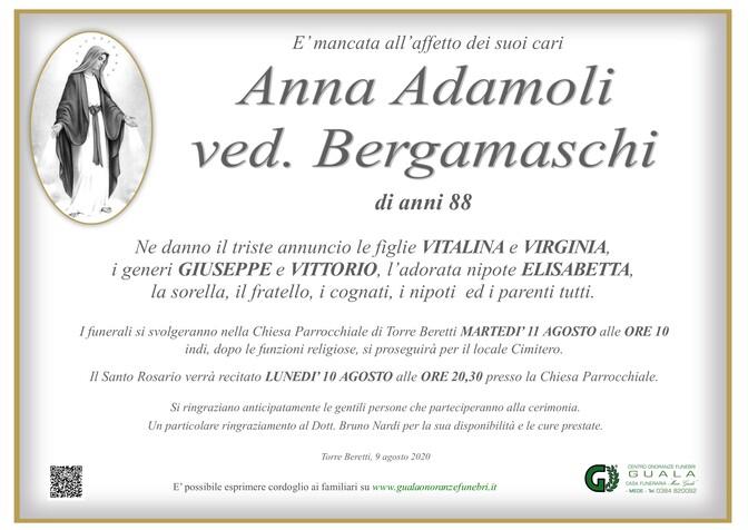 Necrologio di Anna Adamoli ved. Bergamaschi