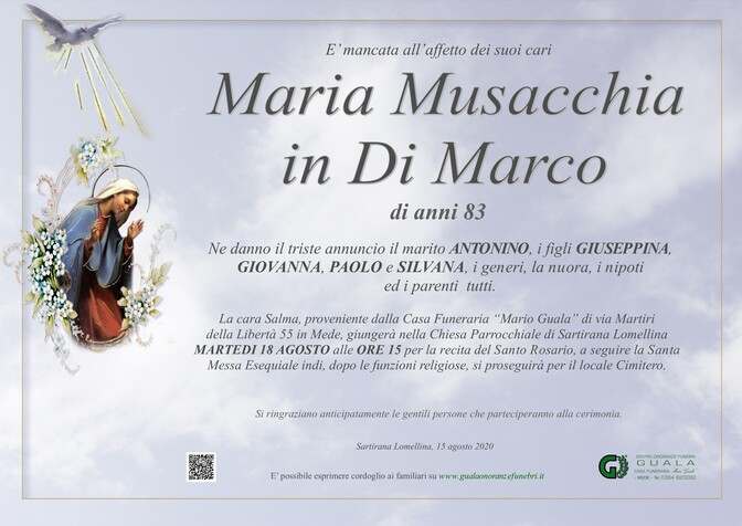 Necrologio di Maria Musacchia in Di Marco