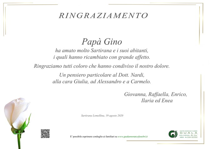 Ringraziamento per Gino Garzia