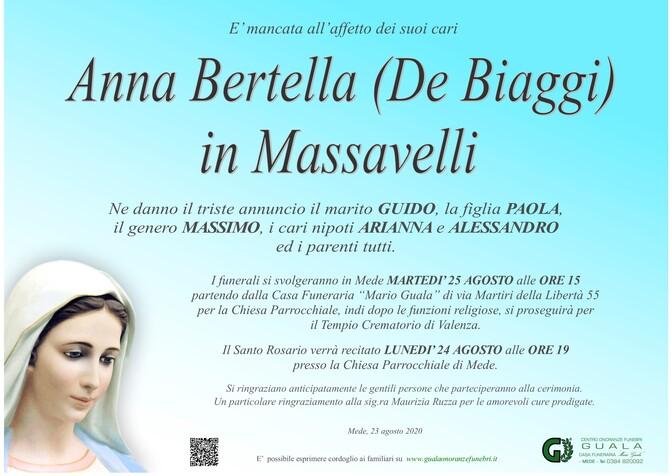 Necrologio di Anna Bertella (De Biaggi) in Massavelli