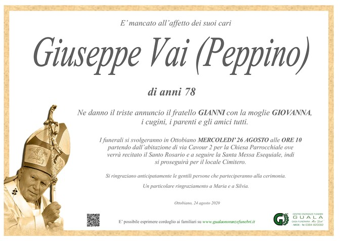 Necrologio di Giuseppe Vai (Peppino)