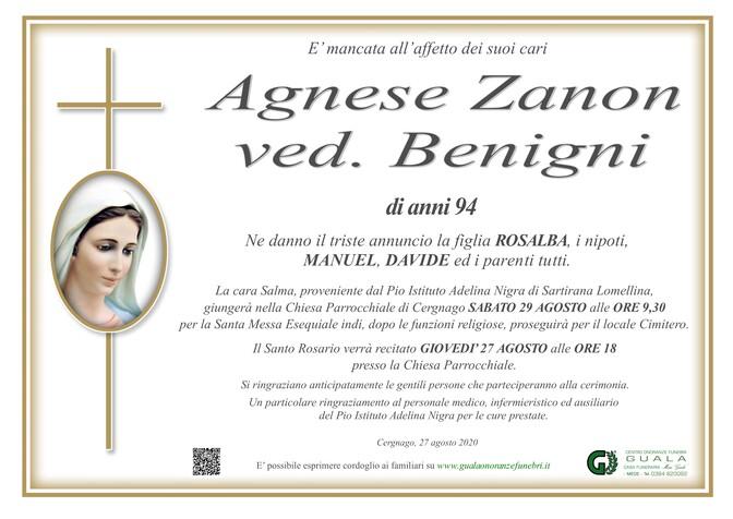 Necrologio di Agnese Zanon ved. Benigni