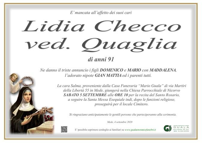 Necrologio di Lidia Checco ved. Quaglia