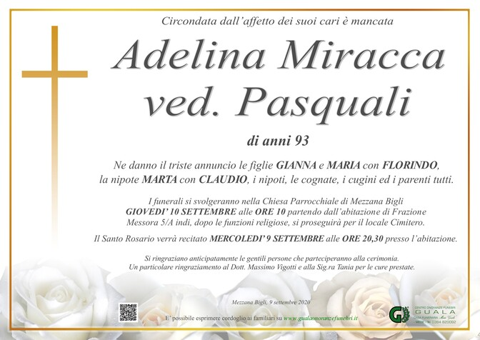 Necrologio di Adelina Miracca ved. Pasquali