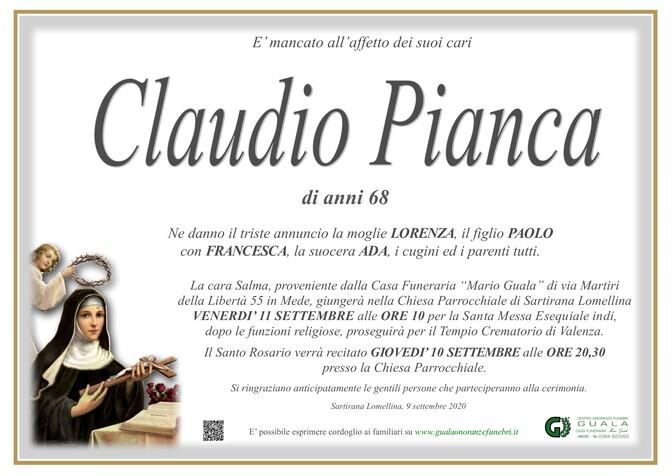 Necrologio di Claudio Pianca