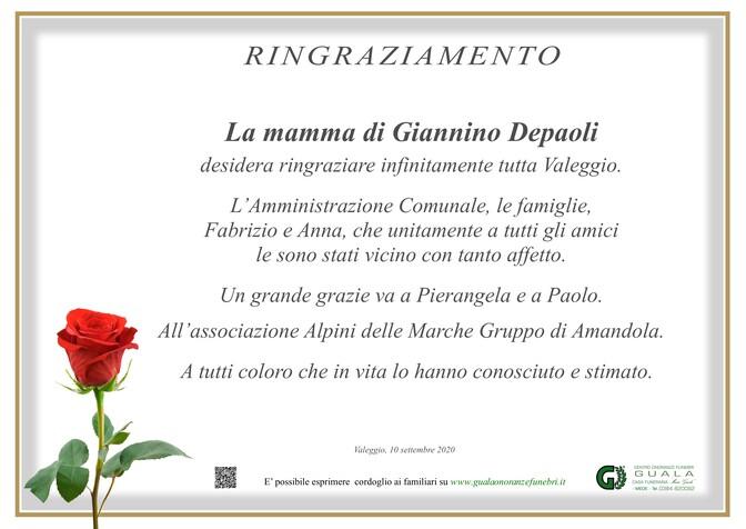 Ringraziamenti per Giannino Depaoli